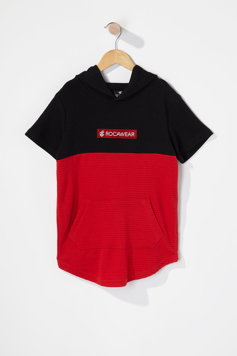 Boys Rocawear Ribbed Colour Block Hooded T-Shirt Black