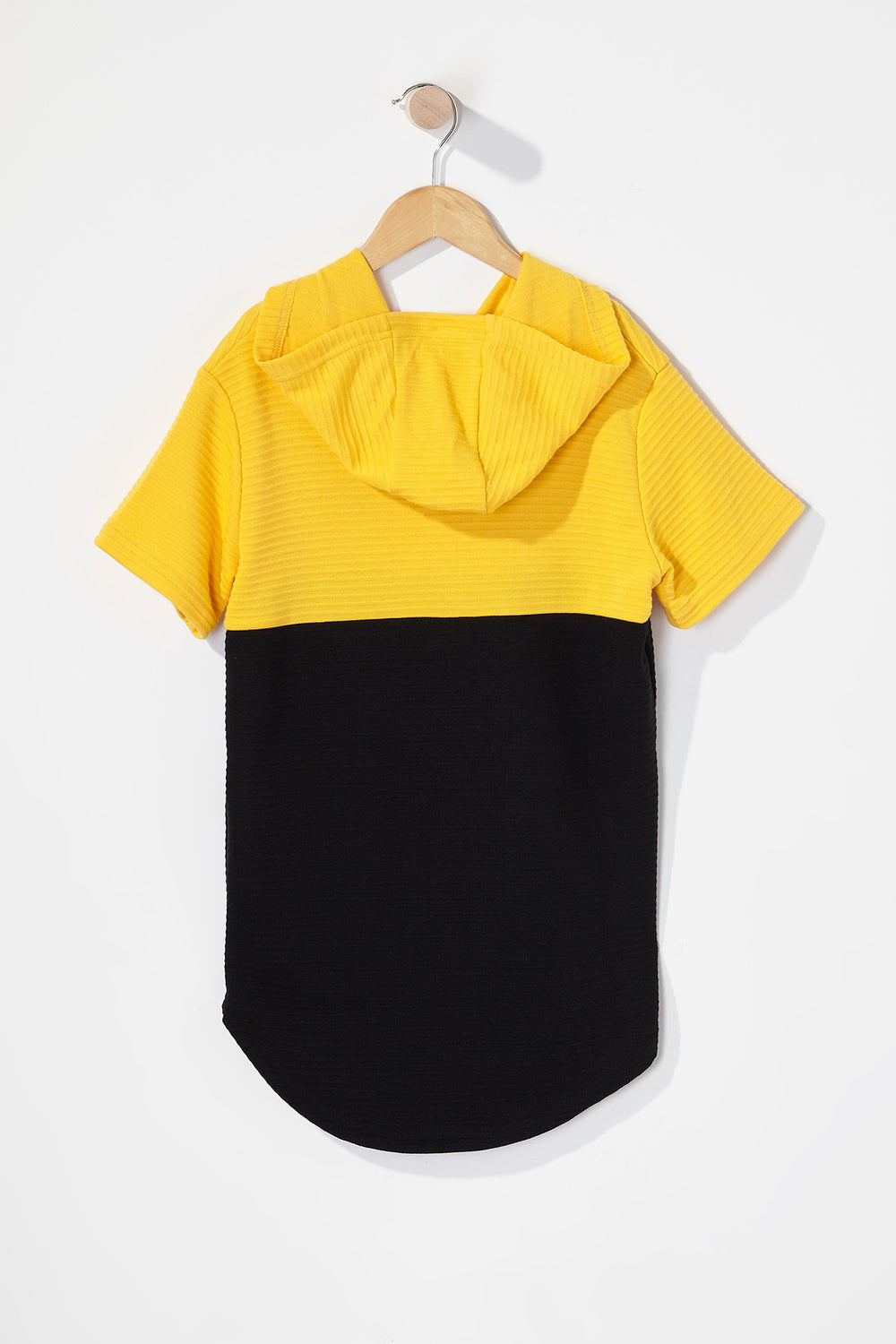 Boys Rocawear Ribbed Colour Block Hooded T-Shirt Yellow