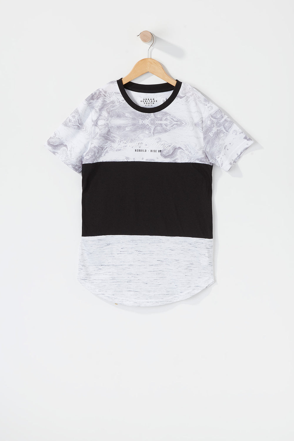 Boys Graphic Colour Block Rise Up T-Shirt Heather Grey