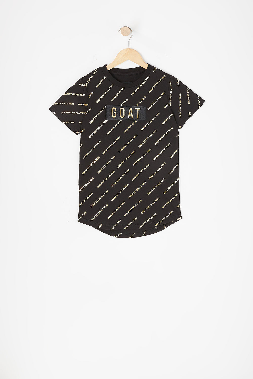 Boys Greatest of All Time Graphic Longline T-Shirt Black