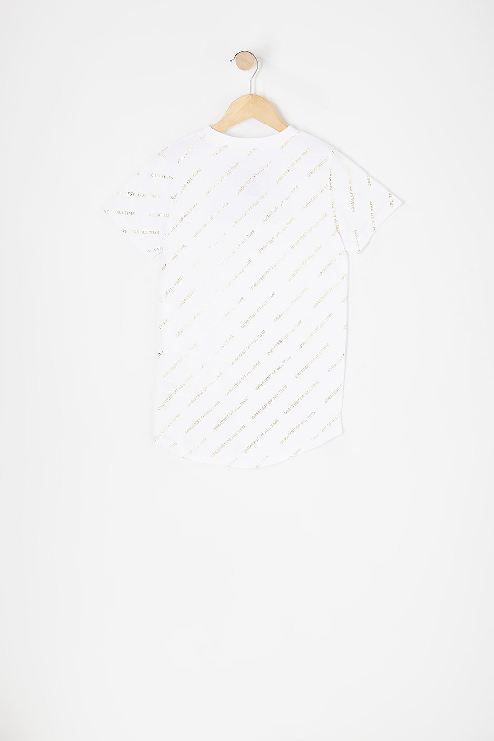 Boys Greatest of All Time Graphic Longline T-Shirt White
