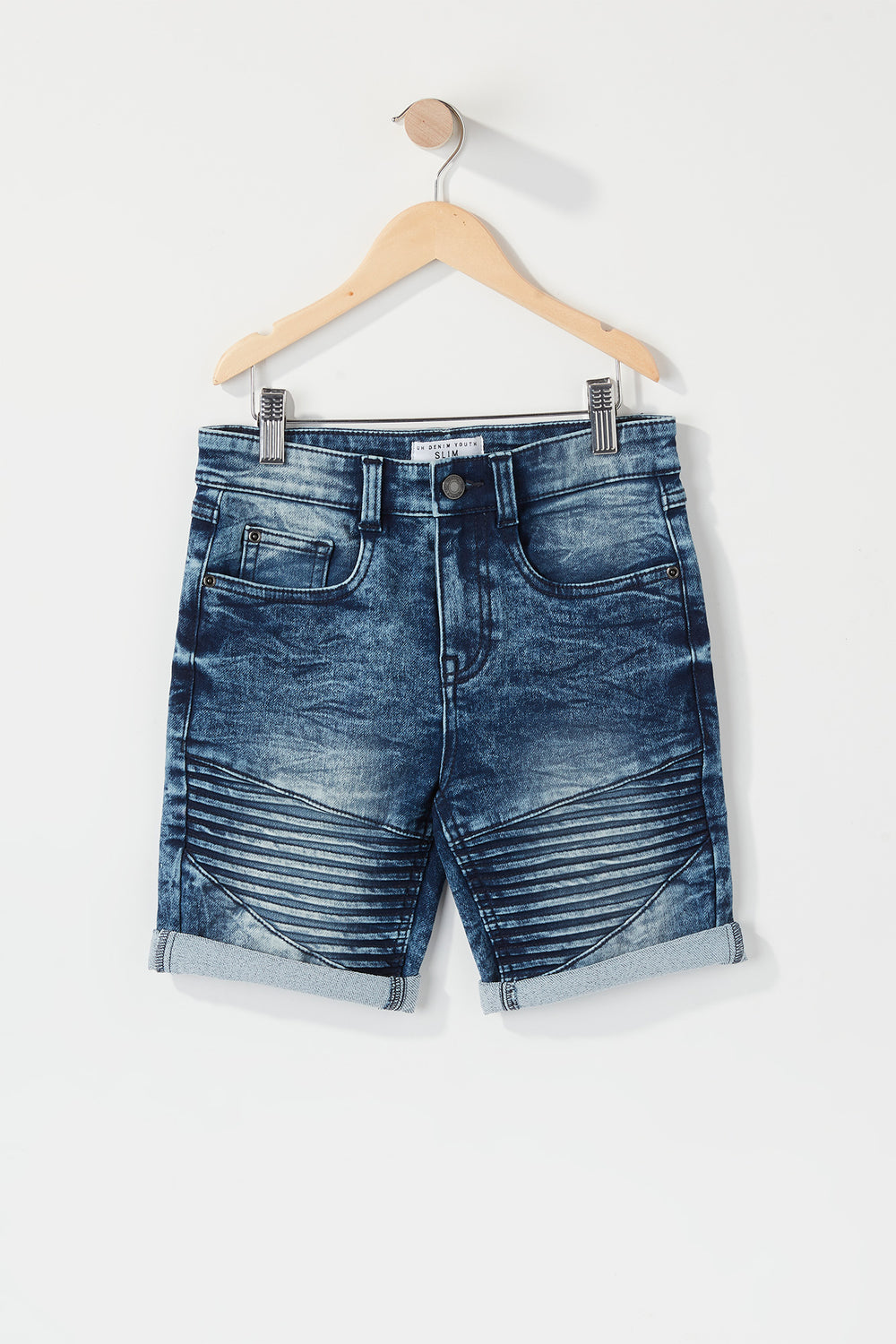 Boys Moto Slim Denim Short Dark Grey