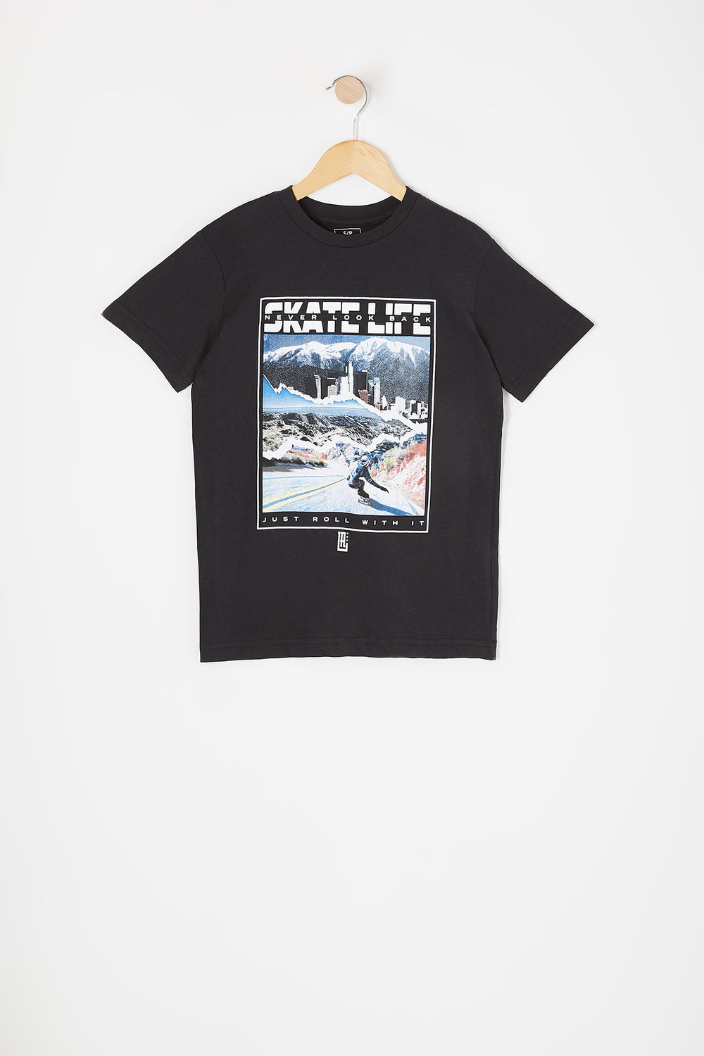 Boys Skate Life Never Look Back Graphic T-Shirt Black