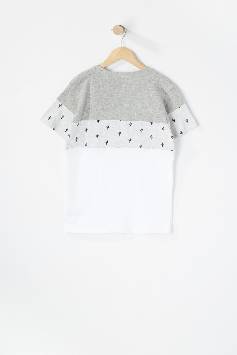 Boys Micro Striped Colour Block Pocket T-Shirt Heather Grey