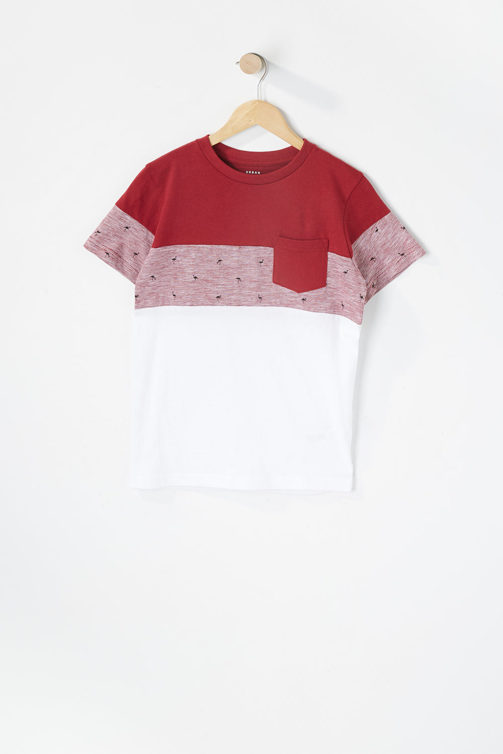 Boys Micro Striped Colour Block Pocket T-Shirt Red