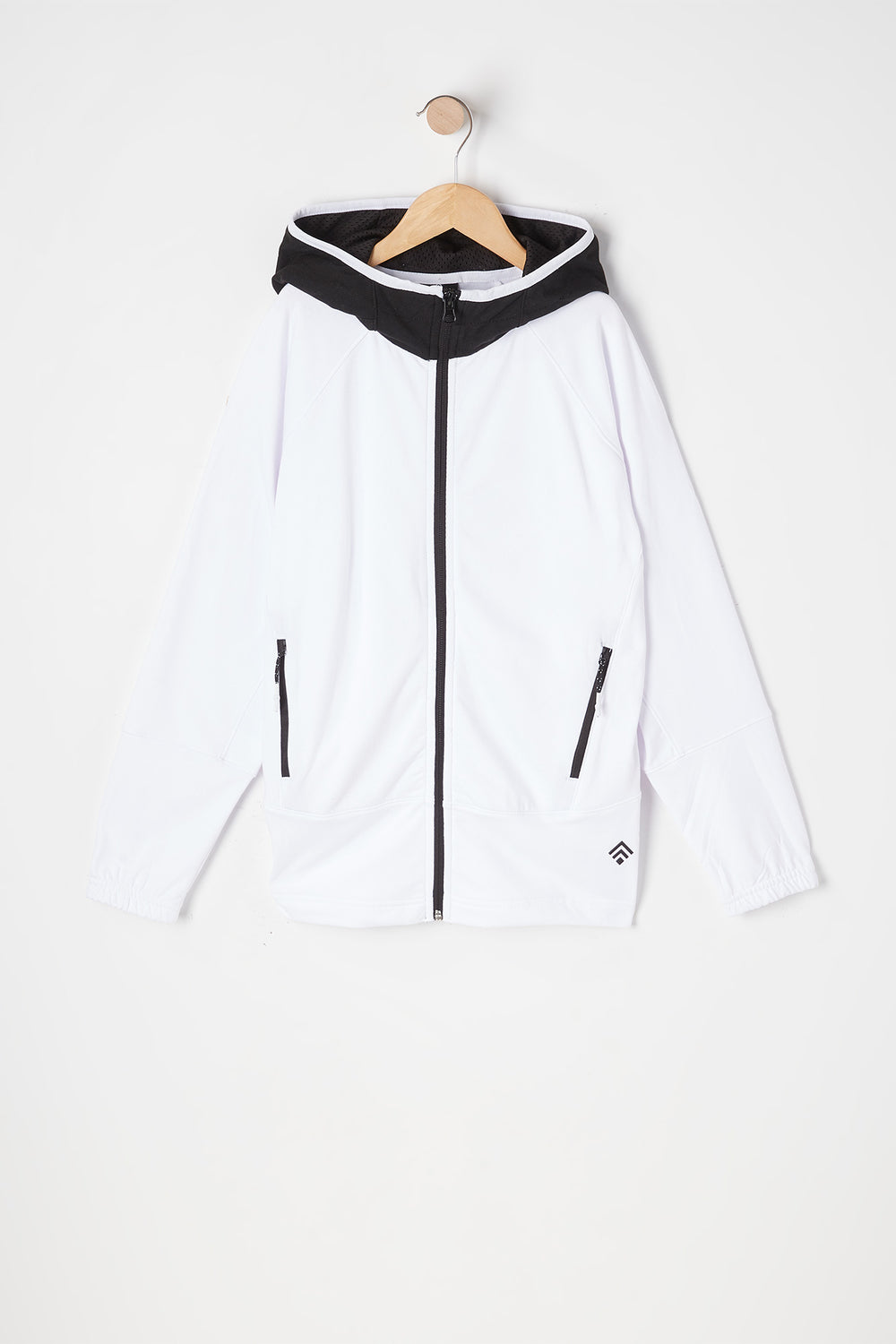 Boys Solid Zip-Up Active Hoodie White