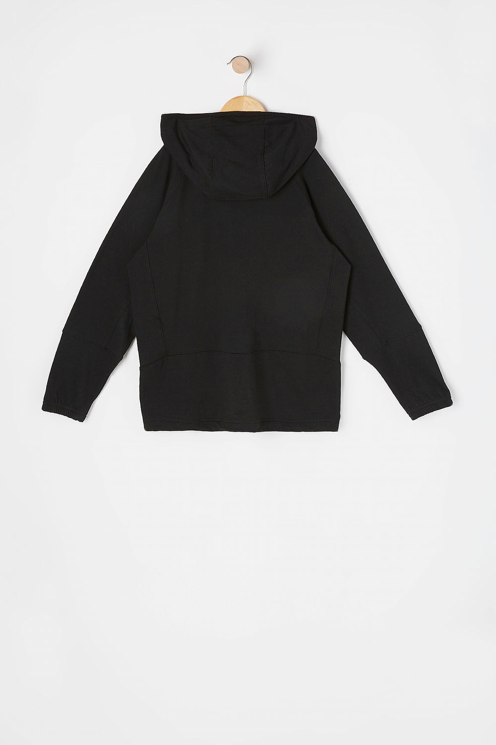 Boys Solid Zip-Up Active Hoodie Black