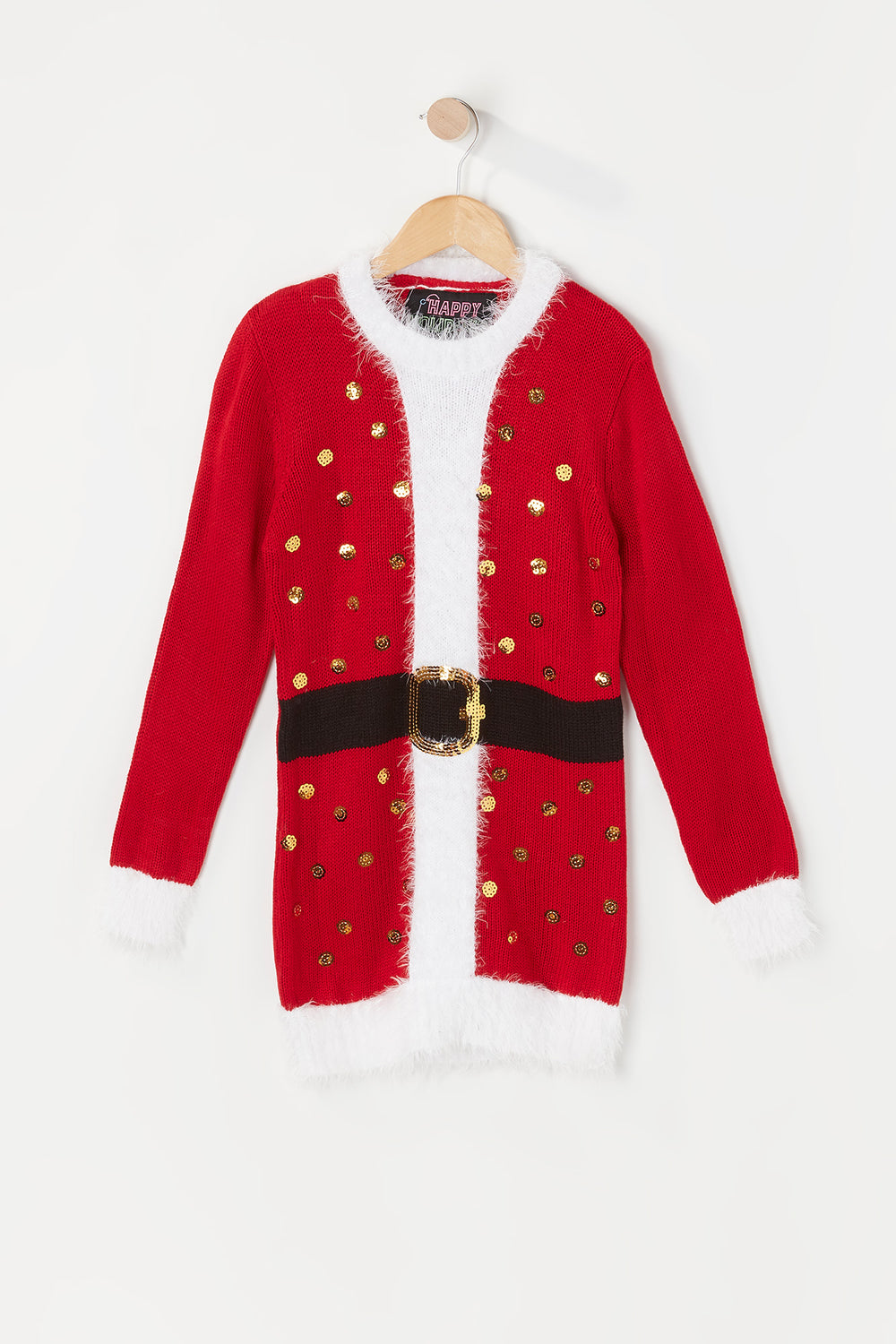 Girls Sequin Santa Ugly Christmas Sweater Tunic Red