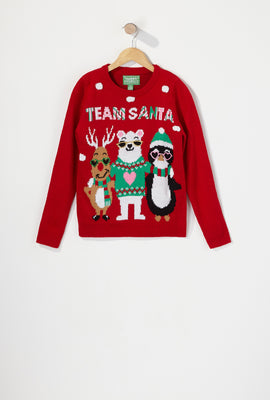 Youth Light Up Team Santa Ugly Christmas Sweater