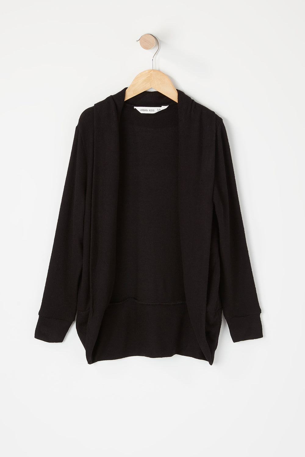 Girls Open Front Cocoon Cardigan Black