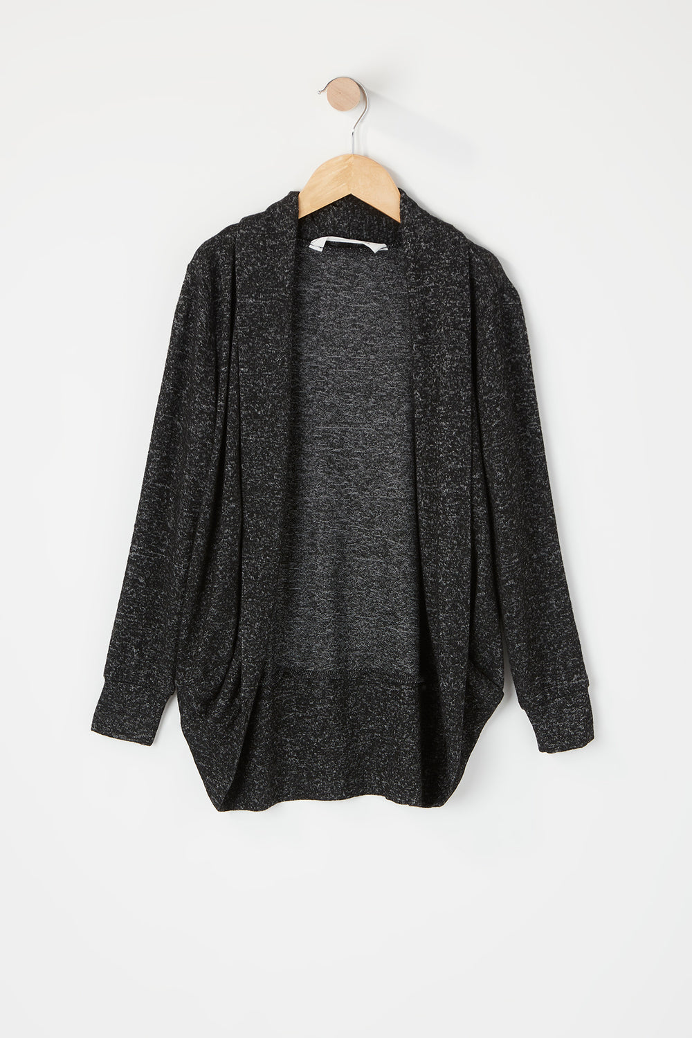 Girls Open Front Cocoon Cardigan Charcoal