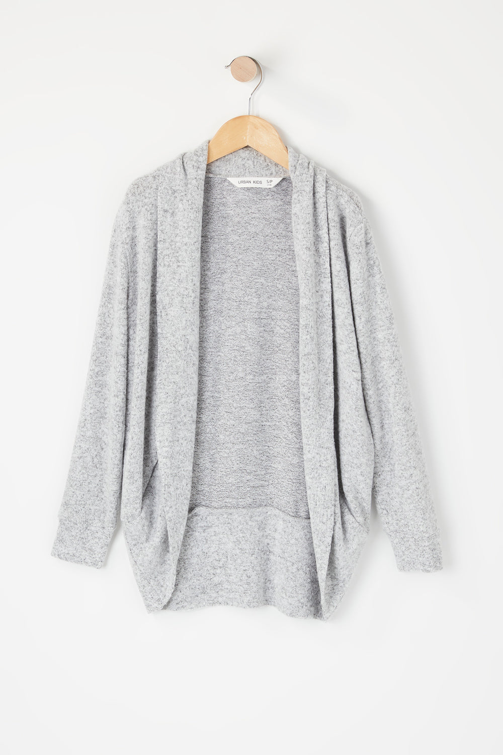 Girls Open Front Cocoon Cardigan Heather Grey