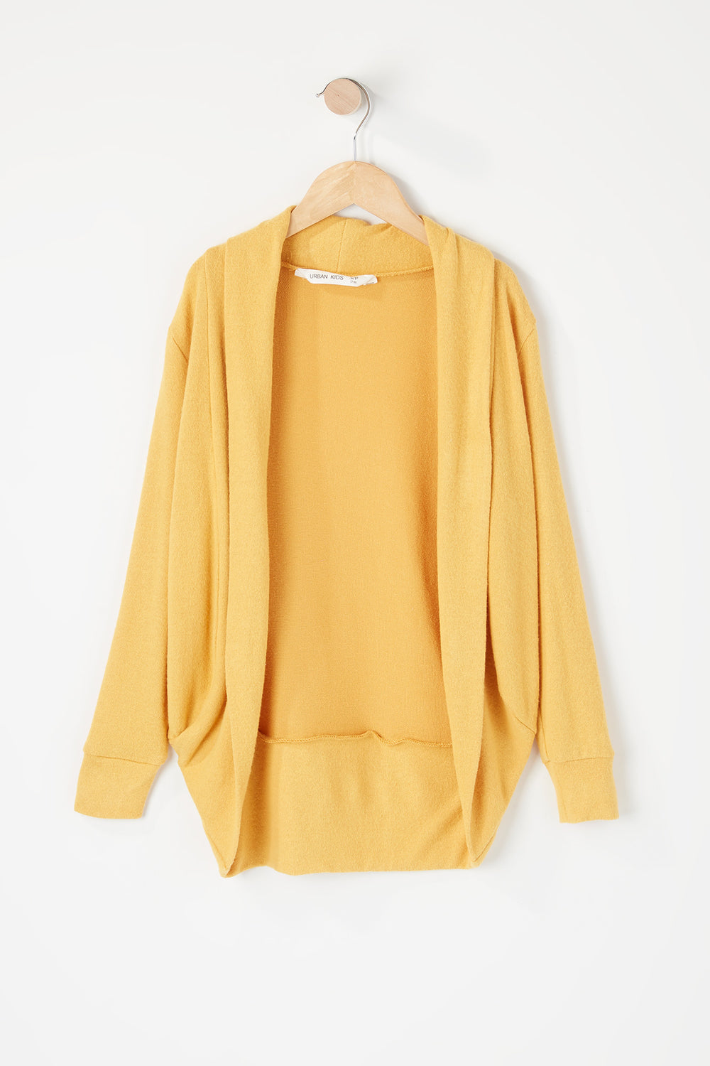 Girls Open Front Cocoon Cardigan Mustard