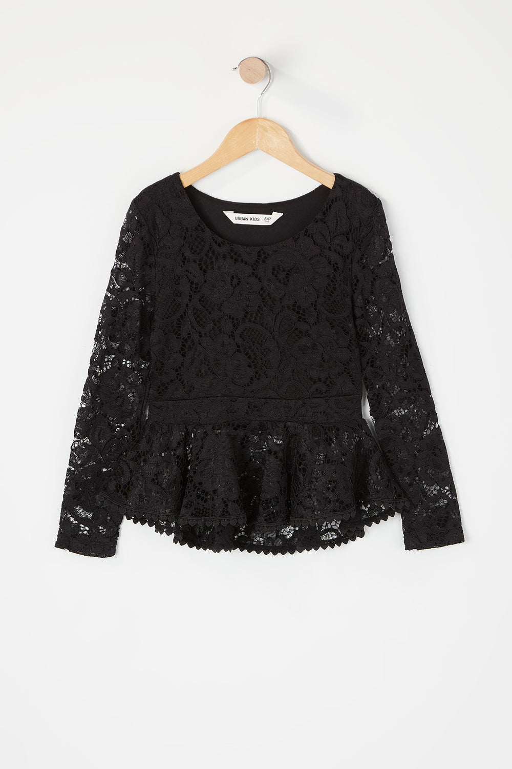 Girls Lace Peplum Long Sleeve Top Black