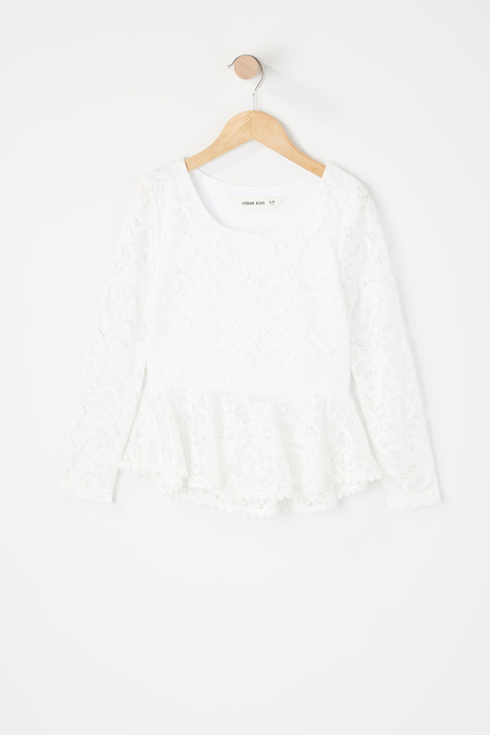 Girls Lace Peplum Long Sleeve Top White