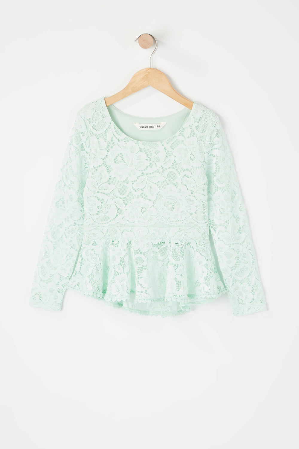 Girls Lace Peplum Long Sleeve Top Aqua