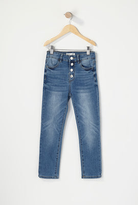 Girls 4-Tier High-Rise Straight Jean