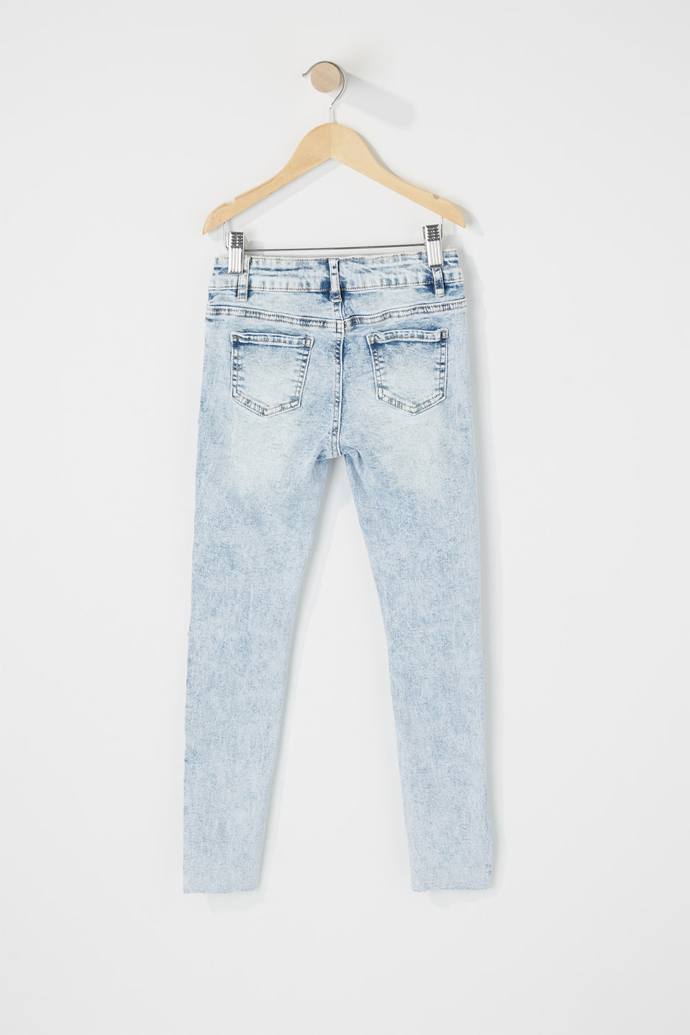 Girls Mid-Rise Distressed Raw Skinny Jean Light Denim Blue