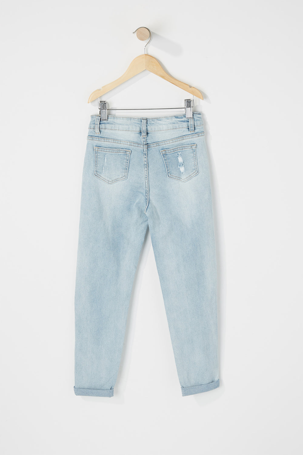 Girls High-Rise Distressed Raw Girlfriend Jean Light Denim Blue