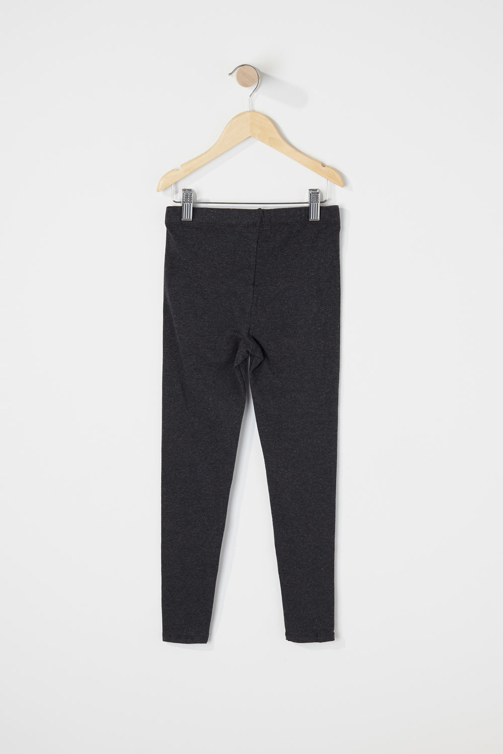 Girls Solid Ripped Legging Charcoal