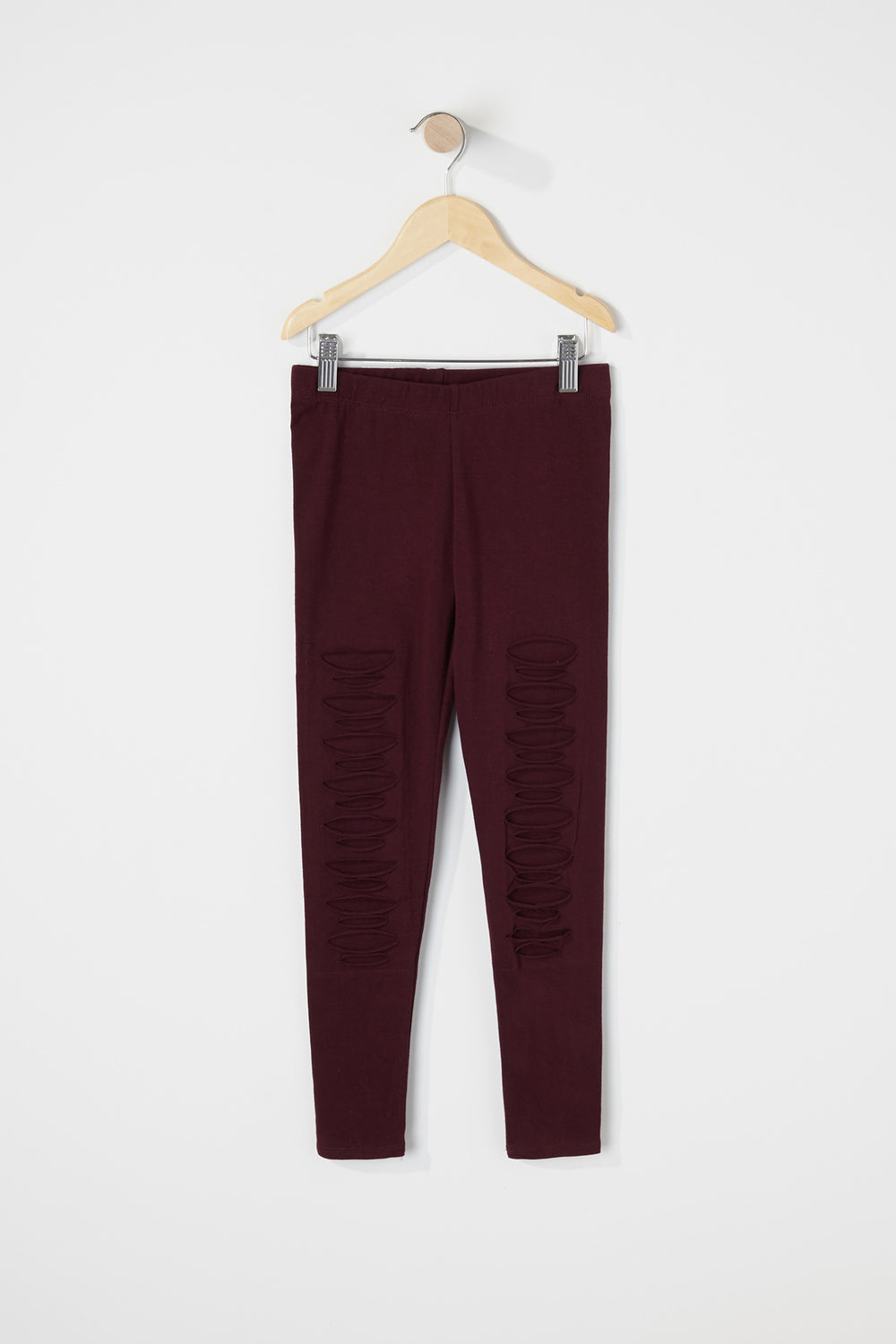 Girls Solid Ripped Legging Wine