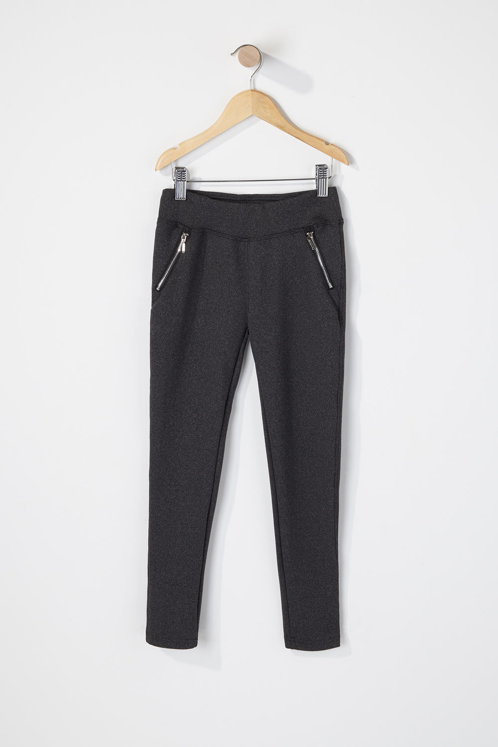 Girls Zip Legging Charcoal
