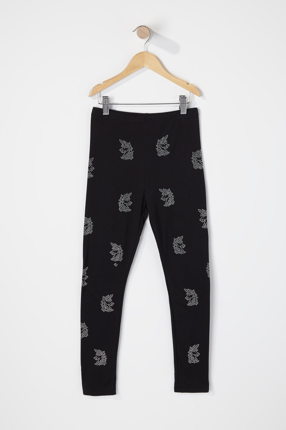 Girls Unicorn Rhinestone Legging Black