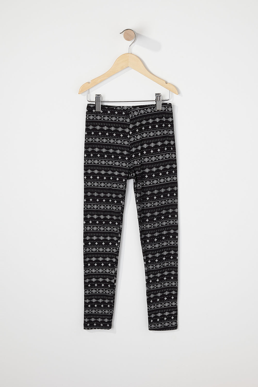Girls Tribal Soft Legging Black with White