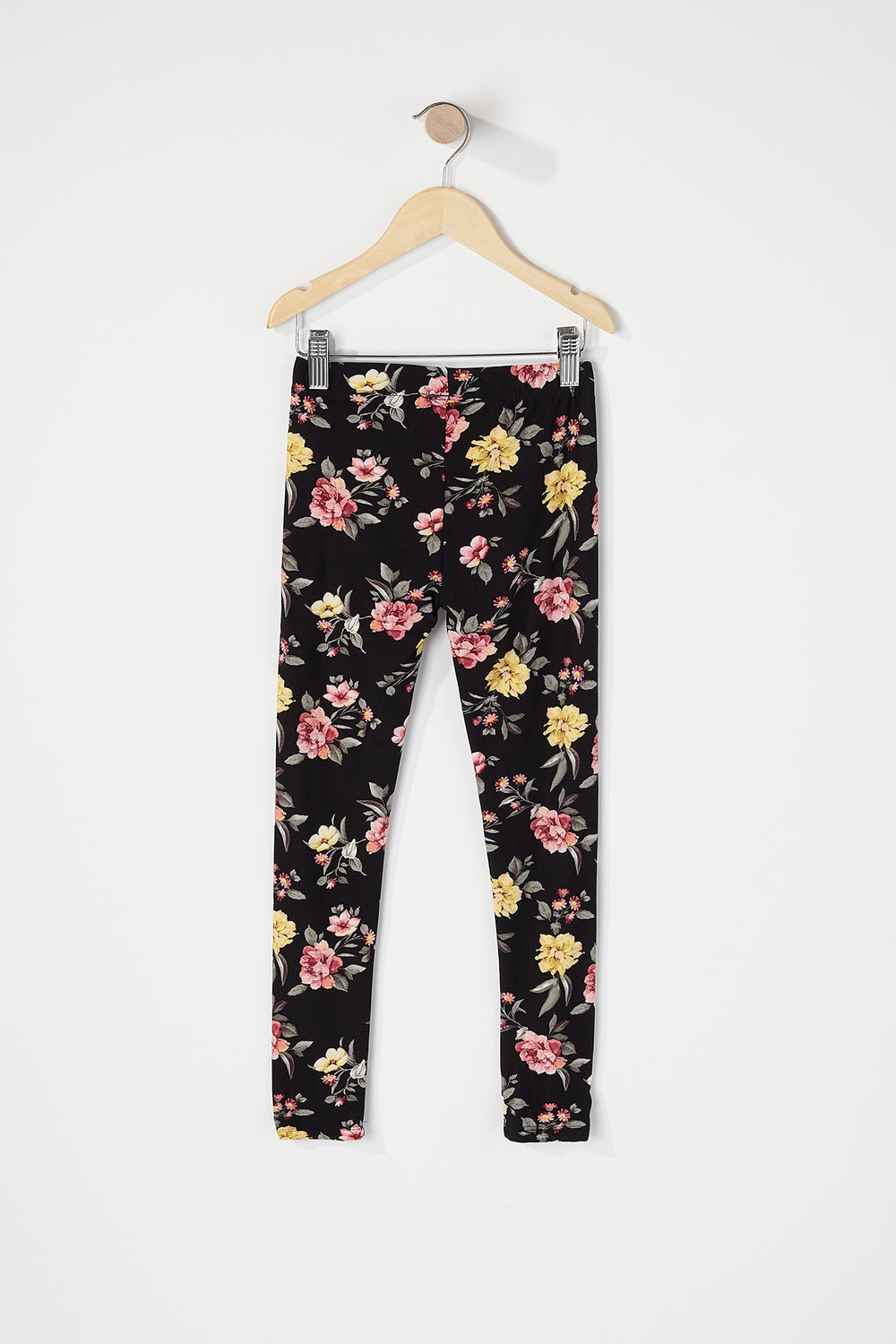 Girls Floral Soft Legging Black