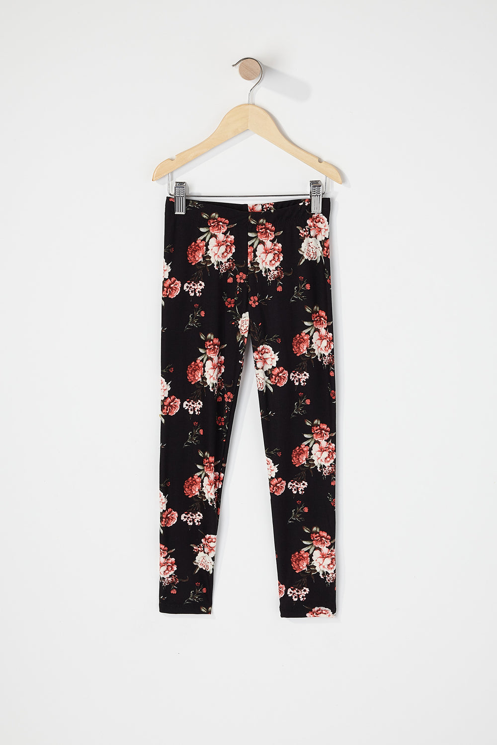 Girls Floral Graphic Soft Legging Black