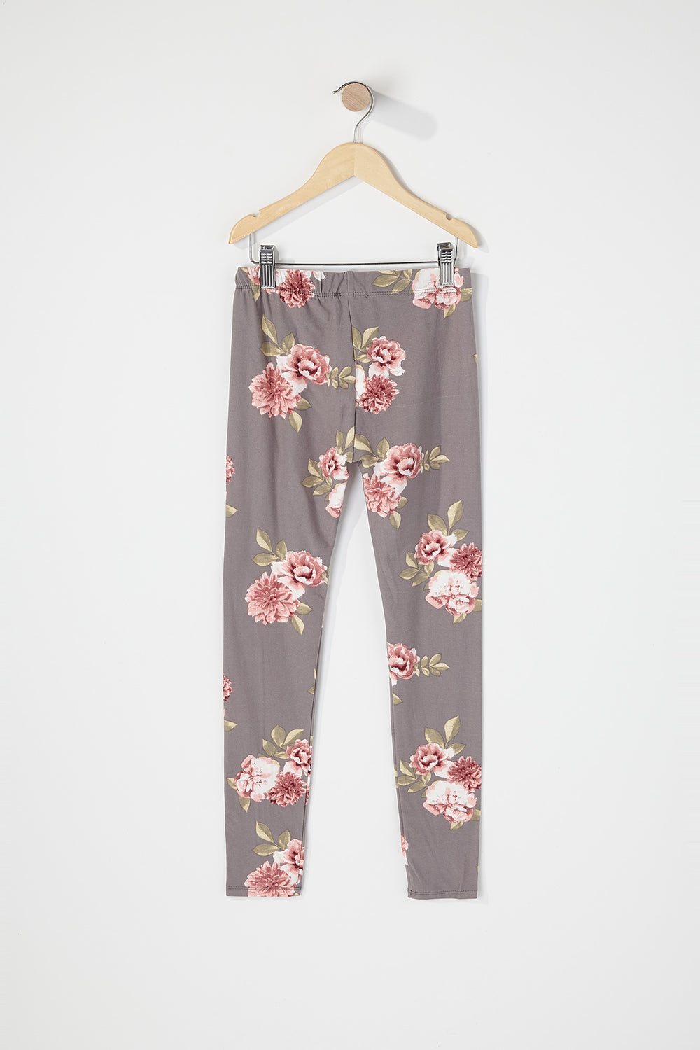 Girls Graphic Floral Soft Legging Heather Grey