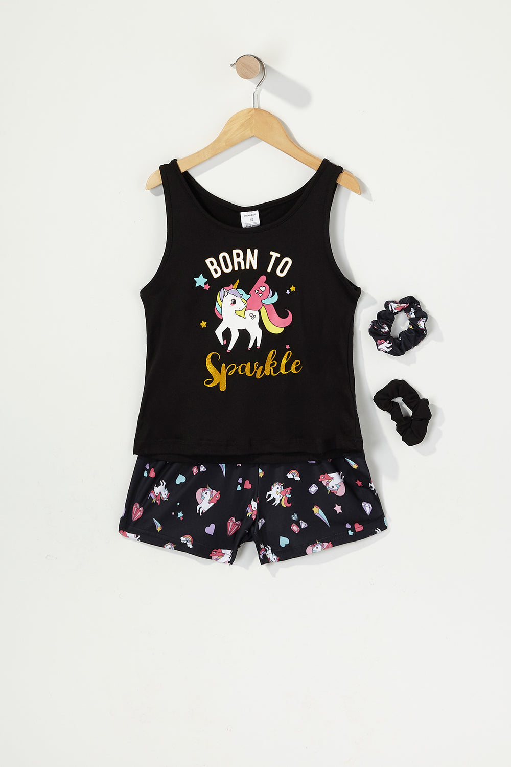 Girls 3-Piece Graphic T-Shirt and Short Pajama Set with Scrunchies Black