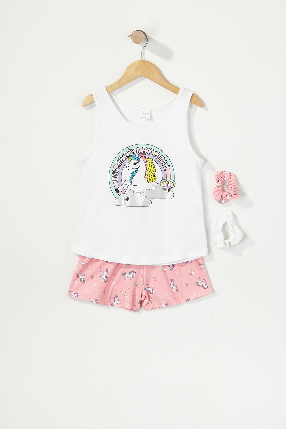 Girls 3-Piece Graphic T-Shirt and Short Pajama Set with Scrunchies White