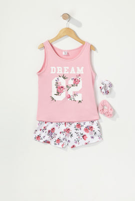 Girls 3-Piece Graphic T-Shirt and Short Pajama Set with Scrunchies