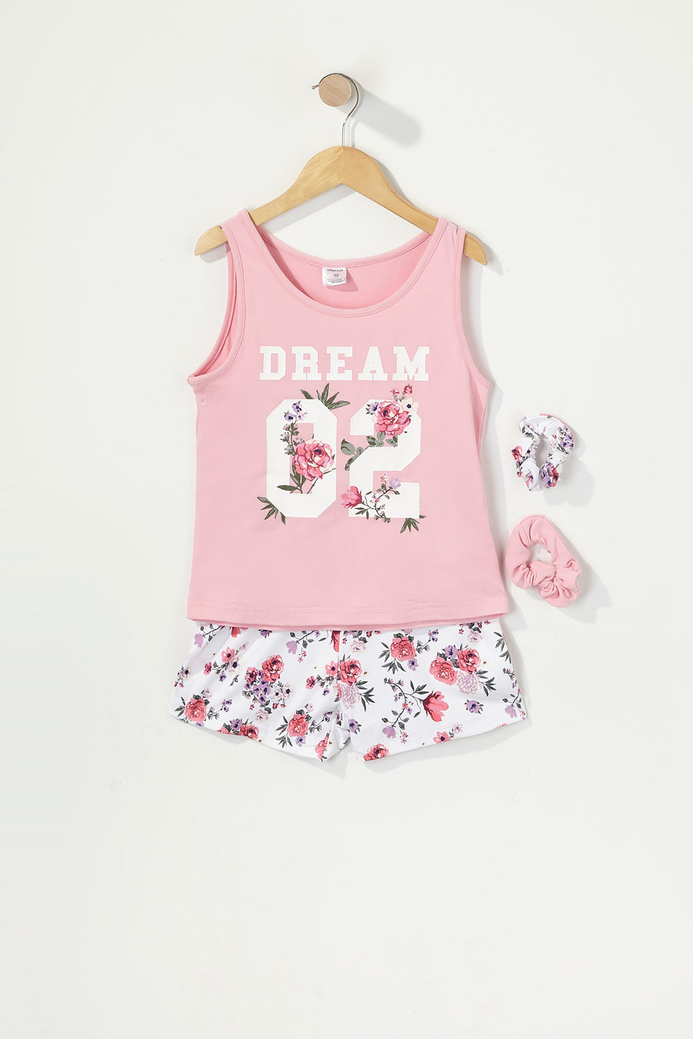 Girls 3-Piece Graphic T-Shirt and Short Pajama Set with Scrunchies Pink