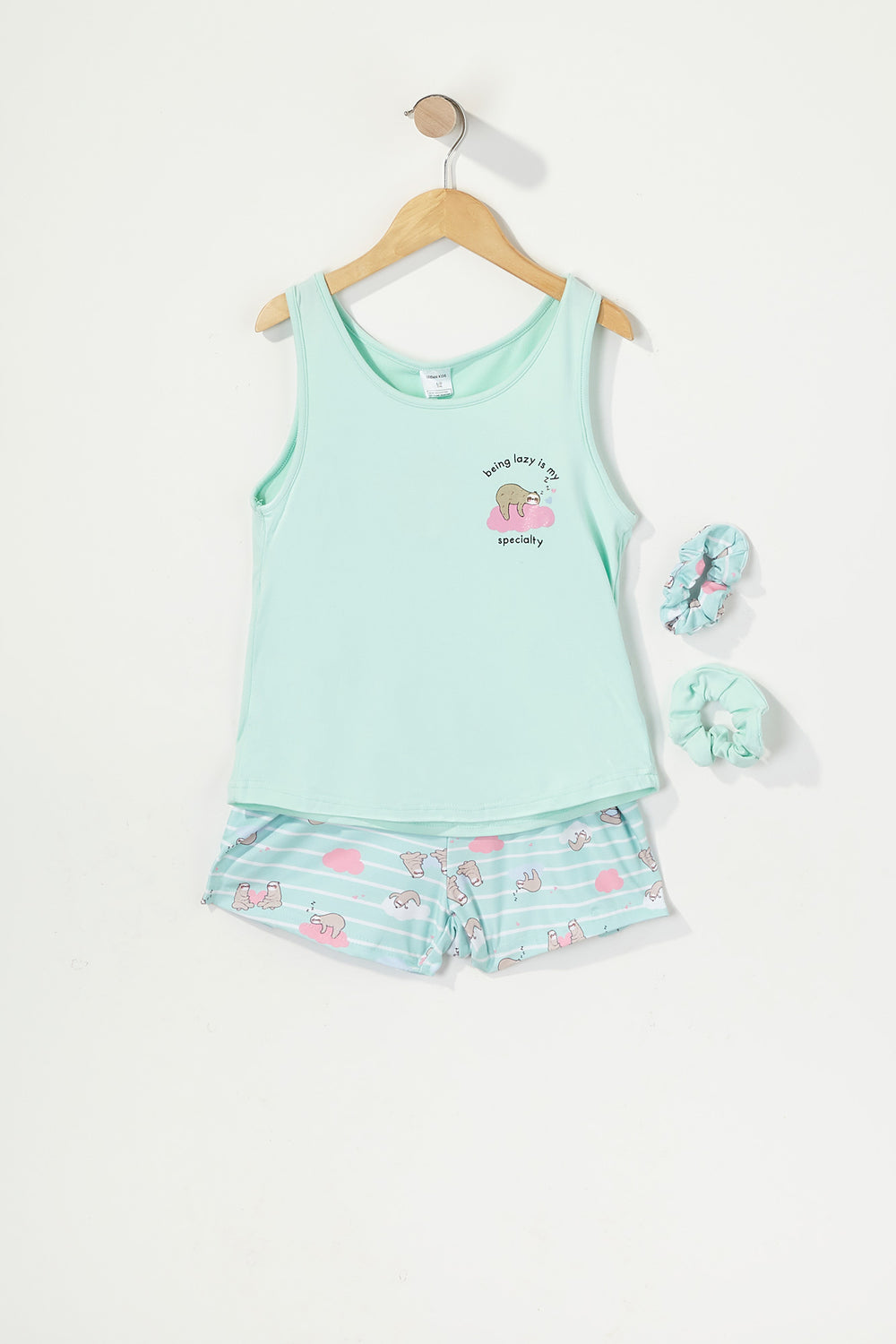 Girls 3-Piece Graphic T-Shirt and Short Pajama Set with Scrunchies Sage