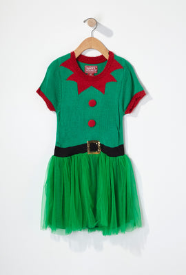 Girls Elf Tulle Christmas Dress