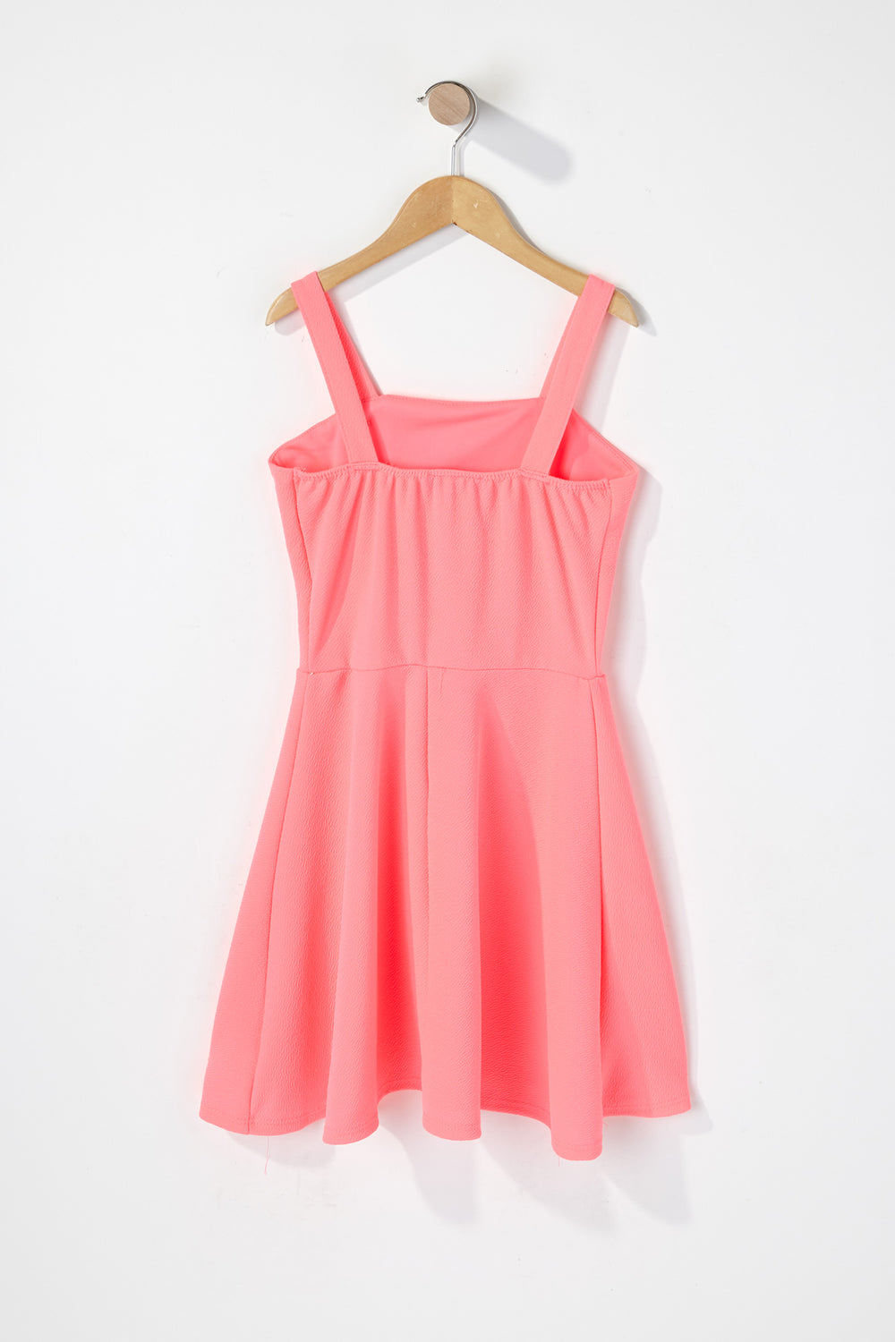 Girls Crepe Button Dress Neon Pink