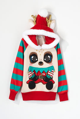 Youth Christmas Reindeer Elf Character Hoodie