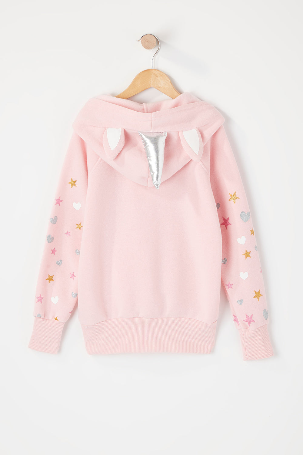 Girls Star Unicorn Graphic Character Popover Hoodie Pink