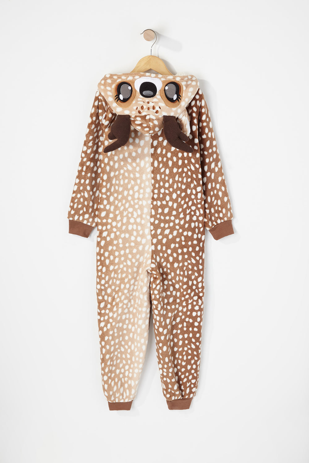 Youth Glitter Reindeer Sherpa Onesie Brown