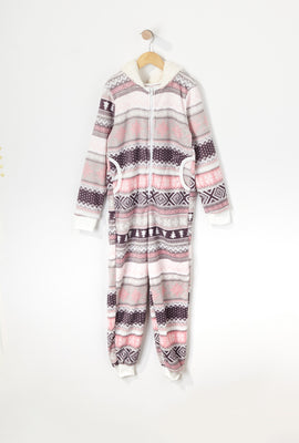 Girls Plush Sherpa Hooded Onesie