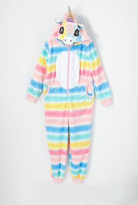 Youth Striped Unicorn Onesie
