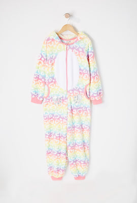 Youth Rainbow Heart Cheetah Onesie