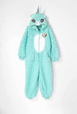 Youth Plush Sherpa Unicorn Onesie