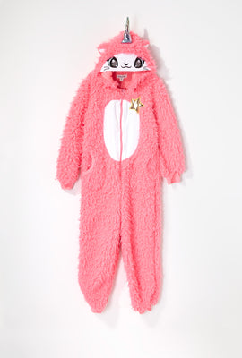 Youth Plush Sherpa Caticorn Onesie