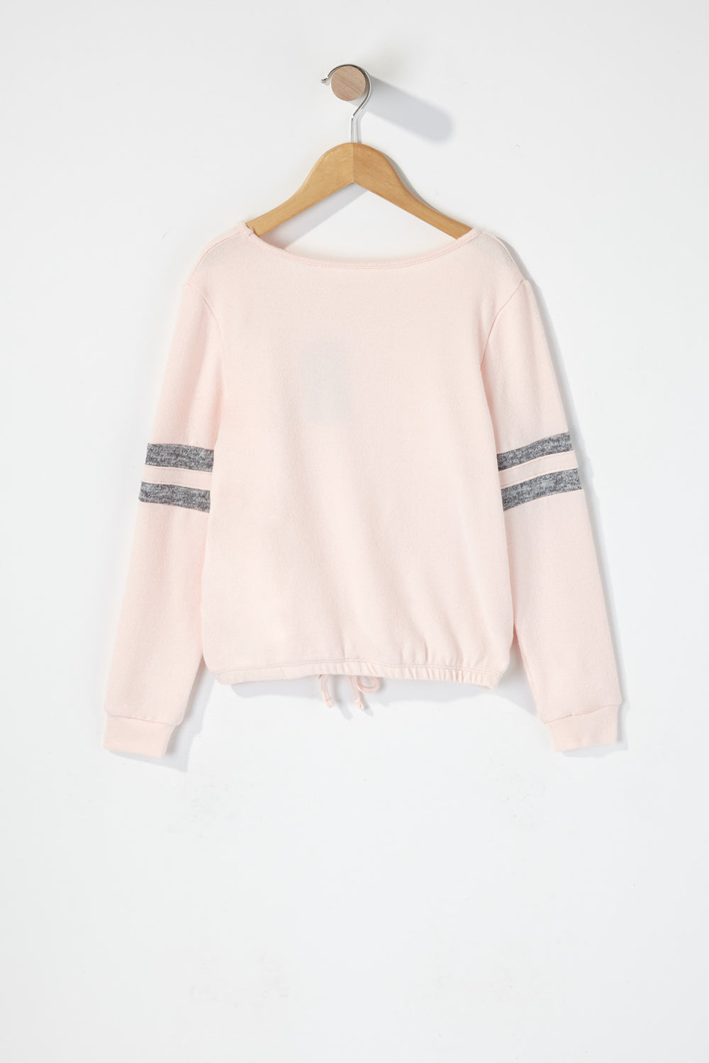 Girls Varsity Side Stripe Soft Long Sleeve Pink