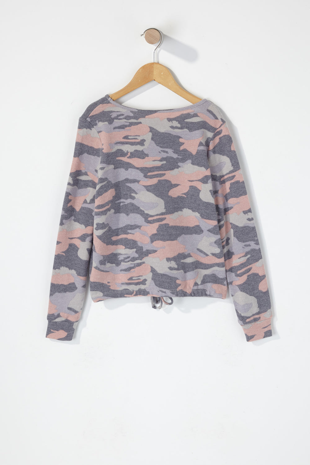 Girls Varsity Side Stripe Soft Long Sleeve Camouflage