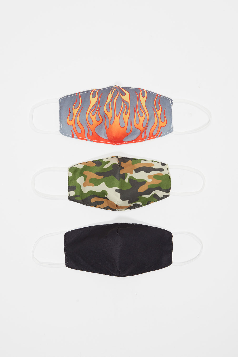 Youth Washable & Reusable Graphic Fire And Camo Protective Face Mask (3 Pack) Blue