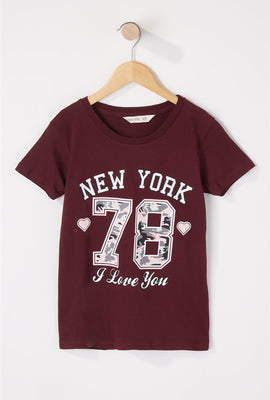 T-shirt scintillant à imprimé New York pour fille